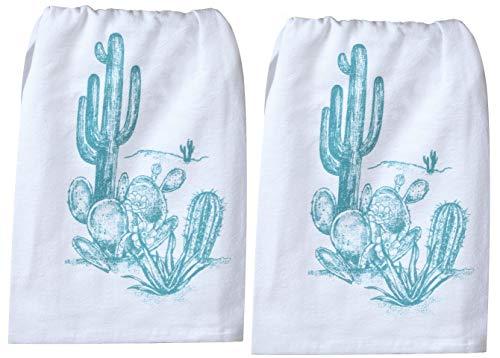 Kay Dee Designs Southwest Craze Cactus Flour Sack Towel Kitchen Dishtowel Bundle, Set of 2 Towels for Cooking, Baking, Cleaning, Drying