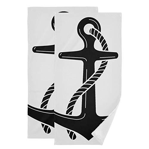 Juego de 2 Toallas para baño Art Anchor Icon Juego de Toallas de baño simbólico Toalla Absorbente Suave de Secado rápido Adecuada para baño, Cocina, Inodoro, Playa