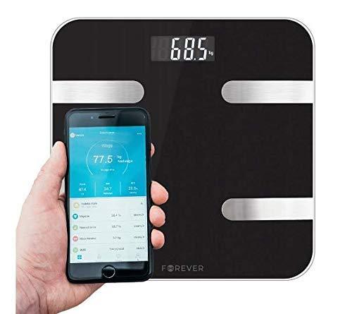 Forever Körperfettwaage, Bluetooth Personenwaage mit iOS und Android App, Smart Digitale Waage für Körperfett, BMI, Gewicht, Muskelmasse, Skelettmuskel, Knochengewicht, BMR, Wasser, Protein (Schwarz)