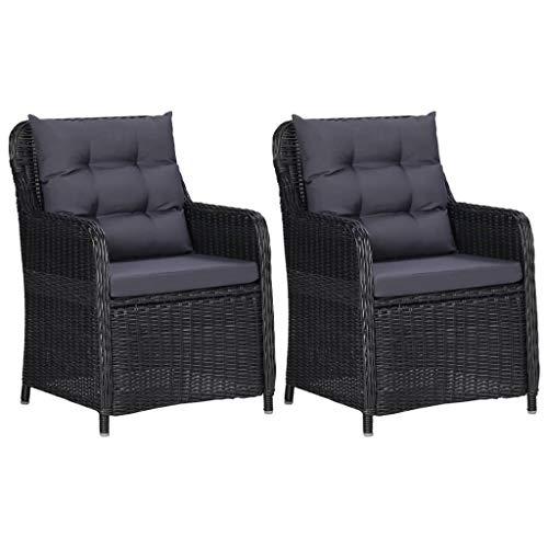 vidaXL 2X Gartenstuhl mit Auflagen Gartensessel Stuhl Gartenmöbel Rattanmöbel Rattansessel Sessel Stühle Gartenstühle Poly Rattan Schwarz