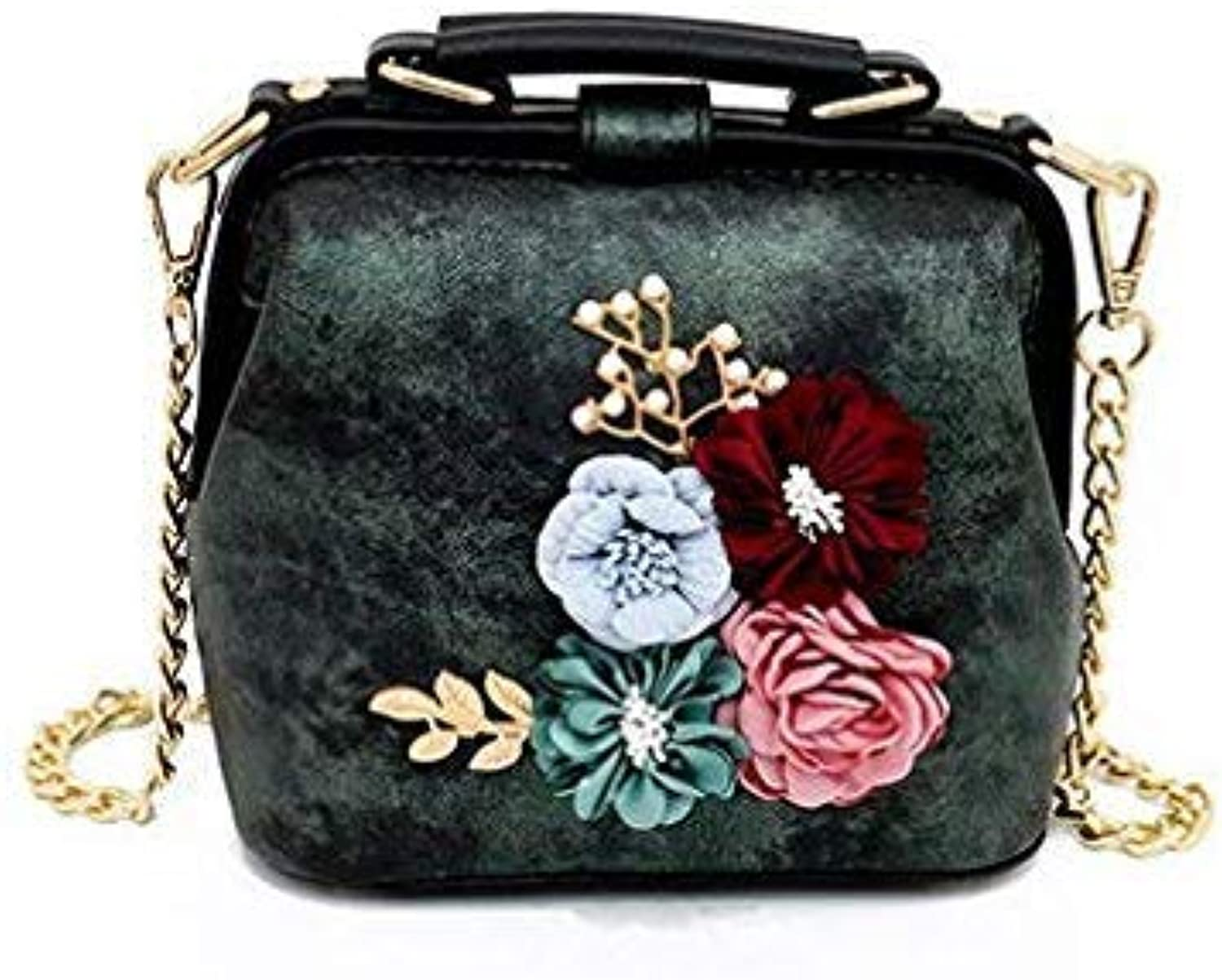 Bloomerang New Women Shell Bags High Quality PU Leather Crossbody Bags Fashion Chain Floral Female Handbags Luxury Appliques Tote Bags color Green 21cm6cm15cm