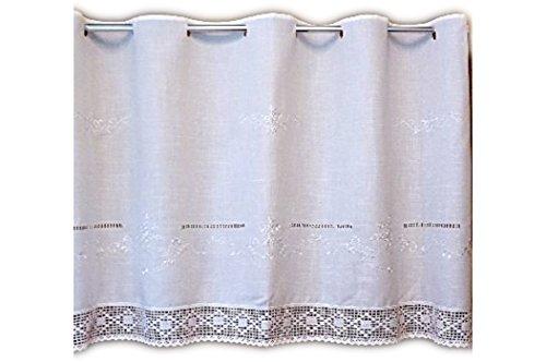 wunderschöne Bistrogardine 80x150 cm Scheibengardine Kurzgardine Gardine in Weiß Ton in Ton bestickt mit toller HÄKELSPITZE Stangendurchzug BAUERNSTIL Landhausstil SHABBY (80 cm hoch x150 cm breit)