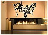 crjzty Tatuajes de Pared Vinilo Art Etiqueta removible Etiqueta de la Pared música Jazz Banda Trompeta bajo DIY decoración de la Pared decoración del hogar 57X80 cm