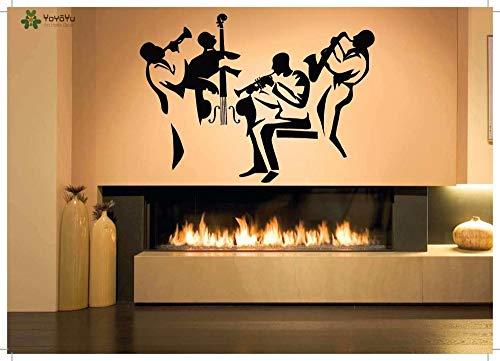 Muursticker vinyl kunst verwijderbare sticker muurschildering sticker muziek jazz band trompet bas wanddecoratie huisdecoratie 85x120cm