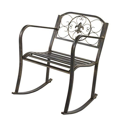 Hugee Porch Rocking Chair Antique Outdoor Patio Iron Scroll Porch Rocker Rocking Chair Deck Seat Backyard Glider, Bronze