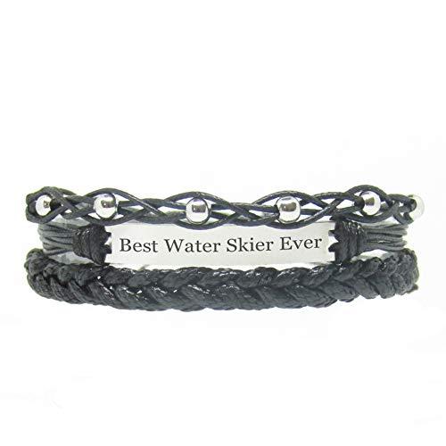 Miiras handgemachtes Armband für Frauen - Best Water Skier Ever - Schwarz 1 - Aus Geflochtenes Seil und Rostfreier Stahl - Geschenk für Wasserskifahrer