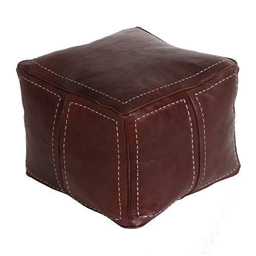Casa Moro Orientalische Leder Sitzkissen Sitzwürfel Marrakesch Braun B 42 x L 42 x H 35 cm inklusive Füllung   Kunsthandwerk aus Marokko   Echt Leder Sitzhocker   MO4265