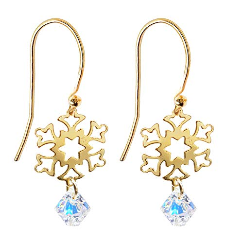 Ah! Jewellery Sterling Silver Open Work Snowflake and AB Xilion Crystals From Swarovski Fish Hook Earrings, Intricate and Feminine Design. Stamped 925. (24K Gold Vermeil)