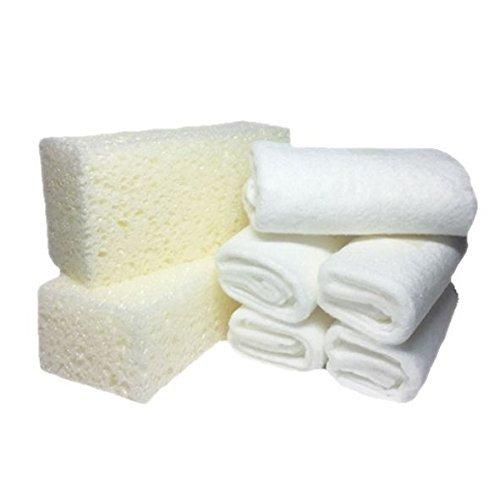 KERALUX LCK Keragil Zubehör Set, 2 x Reinigungs Schwamm und 5 x Pflege Tuch (Tücher hergestellt aus Recyclingmaterial: Viskosefasern und Kunstfasern)