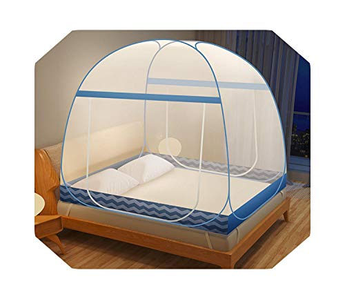 Eileen Ford Quality Encryption Mesh Mosquito Net Yurt Mosquito Netting Double Doors Bed Tents Canopy Large Space Foldable Portable Bed Nets-hailang-Blue-1.8m (6 Feet) Bed