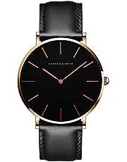 腕時計 シンプル メンズ Hannah Martin ファッション カジュアル ビジネス ウオッチ 日本製クォーツムーブメント 40mm文字盤 本革バンド