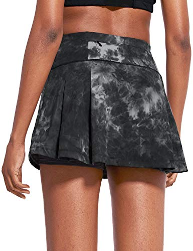 BALEAF Women's 13' High Waisted Tennis Skirts Summer Cute Golf Skorts with 4 Pockets for Casual Running Workout Sports Grey Small