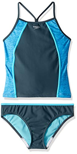 Speedo Heather Splice Tankini de Dos Piezas, Traje de baño de Dos Piezas Tankini Sport Splice Thin Strap - Fabricante descontinuado, Heather Asphalt, 14 (Big Girls)