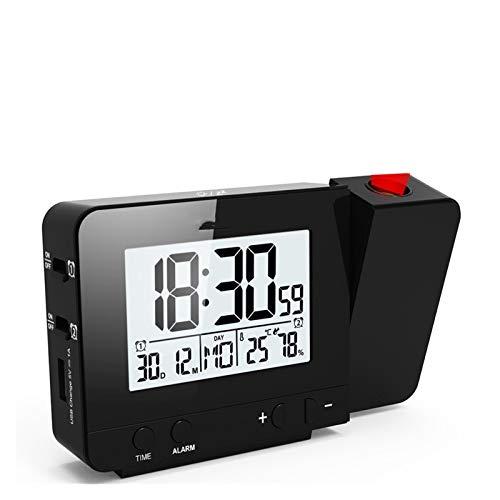 Projektor-Wecker elektronische Uhr Snooze Hintergrundbeleuchtung Temperatur- und Feuchtigkeits Uhr mit Zeit-Projektion Tischuhr Schlafzimmer Büro leuchtende große Displa (Color : Black)