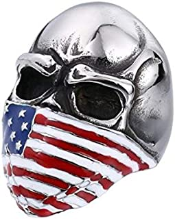 Men ring on a skull-shaped American flag