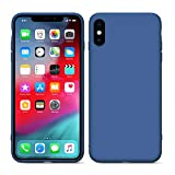 Xinyin Full Body Protection Liquid Silicone Case Compatible with iPhone X/XS Plus Shockproof Cover Case Drop Protection Case with Cleaner Gift (Dark Blue)