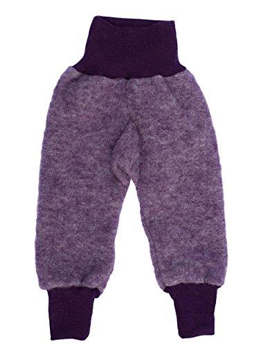 Cosilana Baby Hose mit Bund aus weichem Wollfleece, 60% Schurwolle kbT, 40% Baumwolle (KBA) (62/68, Lila-Melange)