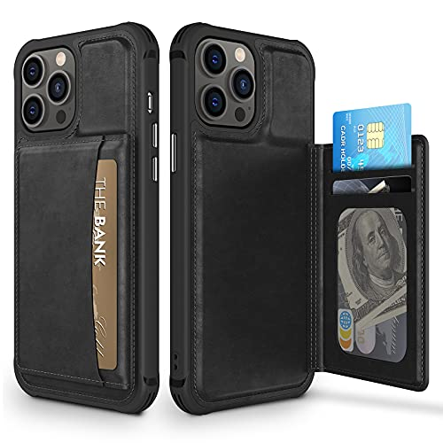 Caka Wallet Case Compatible for iPhone 13 Pro Case with Card Slot Holder Leather Flip Folio Protective Shockproof for Men Durable Magnetic Closure Phone Case for iPhone 13 Pro (6.1'', 2021) (Black)