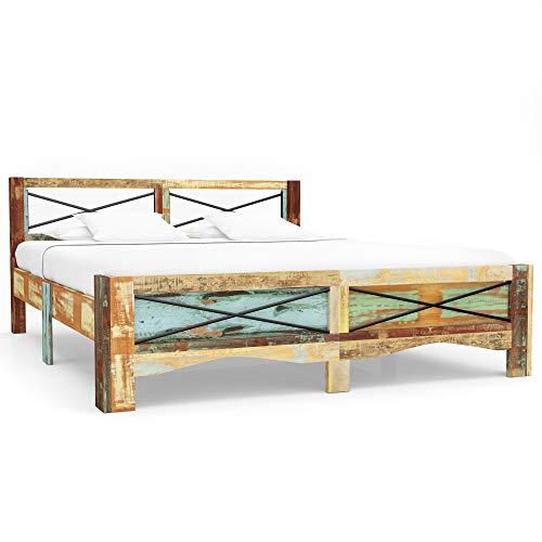 vidaXL Bettgestell Vintage Holzbett Doppelbett Bett Massivholzbett Schlafzimmerbett Futonbett...