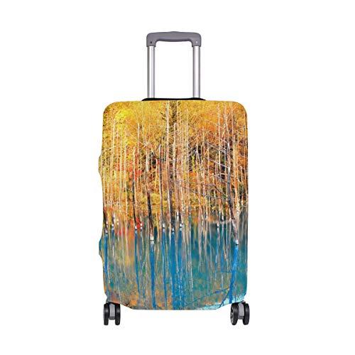 MyDaily Autumn Tree Blue Teich-Abdeckung, passend für 45,7-81,3 cm Koffer, Spandex, Reiseschutz