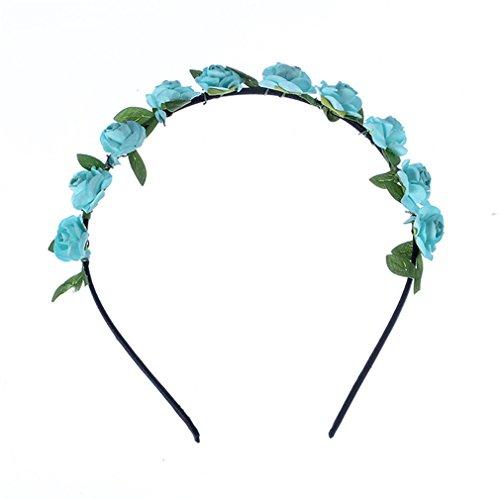 Q_TS Haarspange Stirnbänder Seaside Urlaub Foto Haarschmuck Strand Rose Blume Ring Papierblume Stirnband weiß blau
