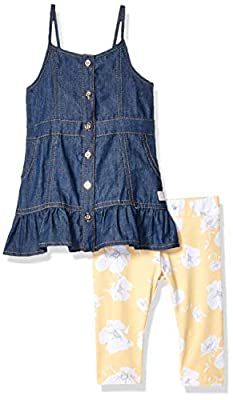 7 For All Mankind Baby Girls Denim Dress and Legging Set, Dark Wash, 24M