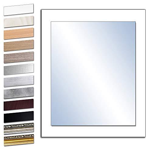Bilderdepot24 Wandspiegel Spiegel Badspiegel Holzrahmen komplett mit Echtglas - WEIß - ca. 60x50 cm