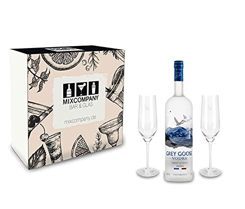 Grey Goose Vodka Geschenk Set - Grey Goose Vodka 0,7l 700ml (40% Vol) + 2 Flöten Gläser (sehr selten)