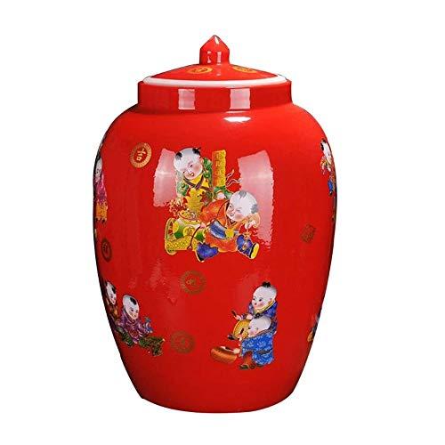 RMXMY Haushalt Keramik Reis Zylinder mit Deckel, Chinesische Rote Intarsien Golden Boy, Frühling Reis Eimer, Weinflaschenwassertank, eingelegte Jar (rot)
