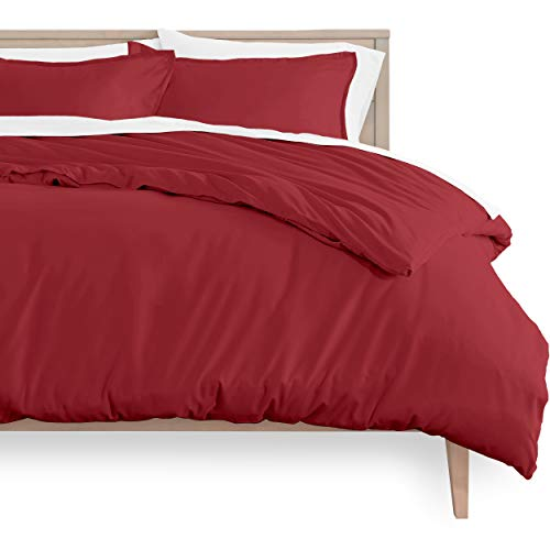 Bare Home Duvet Cover and Sham Set - Queen Size - Premium 1800 Ultra-Soft Brushed Microfiber - Hypoallergenic, Easy Care, Wrinkle Resistant (Queen, Red)