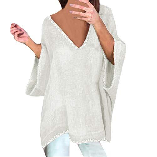 Camiseta de la Personalidad Mujer del Verano Color sólido algodón y Lino división Mujeres Casual Tallas Grandes Camisa Manga Corta Suelto Redondo Cuello Color Sólido Túnica Tops Verano Blusas Lino
