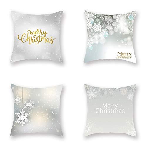 HOUZII Bedsure Kissenhülle Bunte Weihnachtswelt Kissenbezug 45 x 45 cm aus Mikrofaser, dekorative Kissenbezüge 4er Set weich und atmungsaktiv