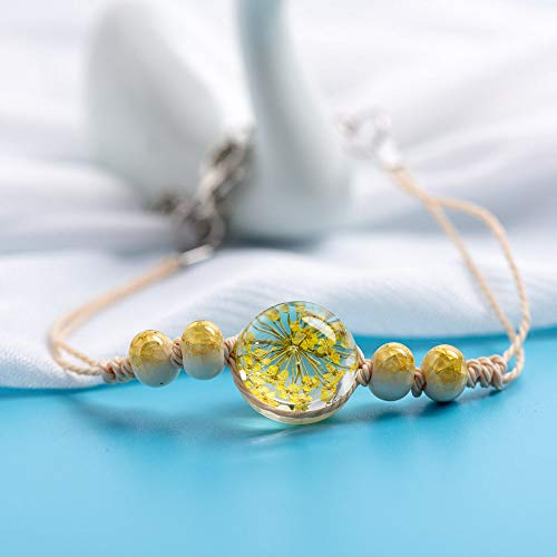 ANGYANG Woven Bracelet,Beige Rope With Chic Transparency Glass Yellow Flower Beads Woven Adjustable Charm Bracelets Original Jewelry Friendship Gift For Men Women Couples