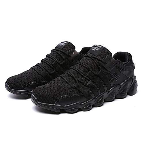 Herbst Winter Männer Sneaker Laufschuhe Atmungsaktive Sportschuhe aus gestricktem Stoff für Männer Tägliche Kleidung Modischer Sneaker schwarz, 41 Uniquelove