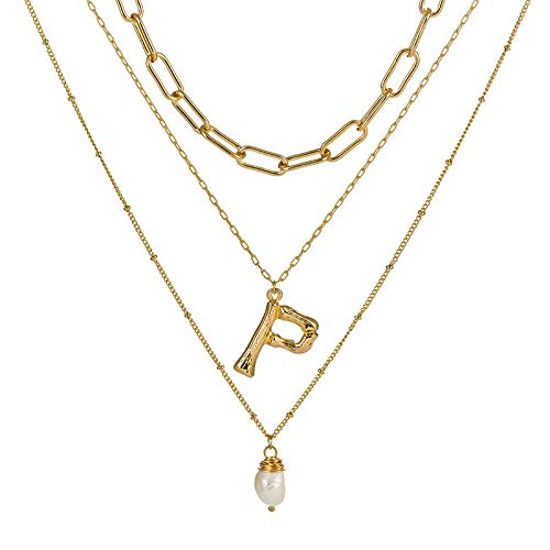 DGSDFGAH Necklace Women Cubic Zirconia Initial Multilayer Necklace Pendant Ladies Necklace Fashion Tiny Pearl P Initial A-Z Letter Choker Necklace For Women Gifts For Women Elegant Gift Box