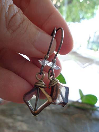 ★ ANTIGUO CRISTAL TRANSPARENTE ★ pendientes de bronce vintage con astilla de strass