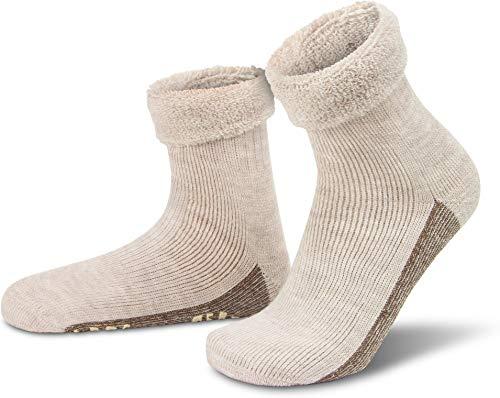 normani ALPAKA Wollsocken mit Alpaka- & Schafwolle sowie rutschfestem ABS-Aufdruck Farbe Natur Größe 35-38