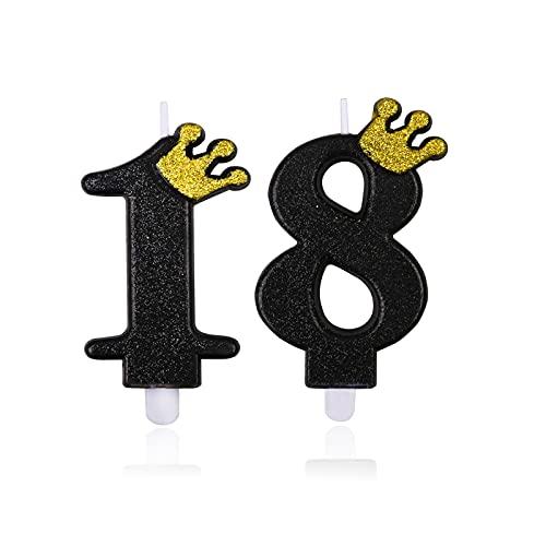 Candele per Torta di Compleanno Nero Numero 18 Candela per Compleanno Particolari Cake Topper 9cm
