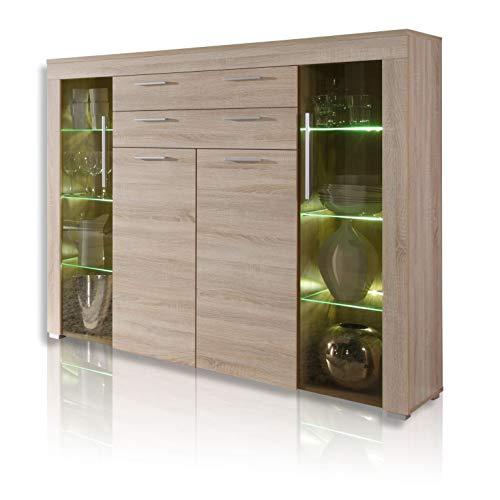 trendteam smart living Wohnzimmer Highboard Sideboard Wohnzimmerschrank Boom, 160 x 137 x 40 cm in Eiche-sägerau hell mit brünierten Glasscheiben