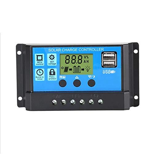QiKun-Home Controlador de Cargador Solar 60A 50A 40A 30A 20A 10A 12V 24V Cargador de batería LCD Regulador de Panel Solar Dual USB para MAX 50V Negro y Azul 30A