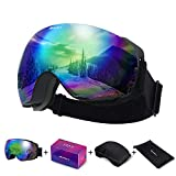 Avoalre Ski Goggles, OTG Frameless Snowboard Goggles, Anti-Fog Safety Goggles & UV 400 Protection Dual Layers Lens Snow Glasses, with Adjustable Anti-Slip Strap for Men Women & Youth