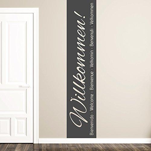 NEU tjapalo®tjapalo® s-pkm163 Wandtattoo Willkommen flur und Diele Wandtattoo Willkommen Zuhause Wandbanner Eingang Willkommen Sprachen International (Höhe 100 x Breite 23cm)