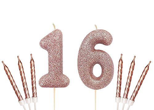 Gadget Giant Rose Gold Number 16 16th Birthday Cake Sparkling Glitter Candle & 6x Metallic Cake Candles Toppers
