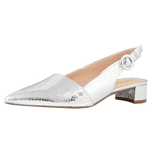 YDN Women Pointed Toe Block Low Heels Slingback Dress Pumps Slip On Buckled Office Sandal Shoes Silver Snake 12
