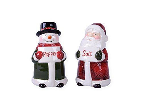 Santa and Snowman Ceramic Christmas Salt and Pepper Shakers