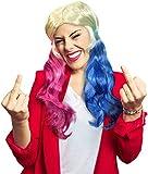 Balinco Peluca Harley Quinn Rubia con Trenzas Azules y Rosas - como complemento Disfraz de Harley Quinn