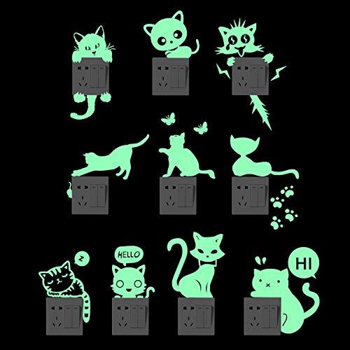 Yosemy Pegatinas para Interruptores 10pcs Creativo Luminosa Pegatina Pared Gato Fluorescente Pegatinas del Interruptor de la Pared Decoración de la Habitación