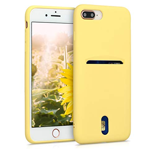 kwmobile Funda Compatible con Apple iPhone 7 Plus / 8 Plus - Carcasa de Silicona con Tarjetero y Acabado de Goma - Amarillo