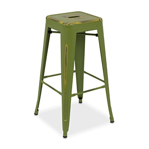 Taburete Alto Tolix - Taburete Industrial Metálico Vintage (Varios Colores) - Vaukura (Verde Oliva)