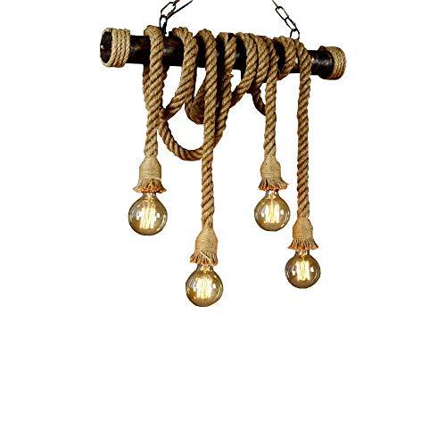 Hanfseil Pendelleuchte Retro Vintage Seilleuchte Seil Lichter Kronleuchter Runde Hängend Hängelampe, Höhenverstellbar E27 Industrial Hängelampe, Handgewebt Deckenlampe Beleuchtung(4-flammig) …